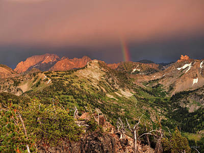 Photograph - Mountain Light And Rainbow In The Tetons by Leland D Howard