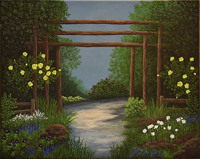 Painting - Garden With Posts by Gloria Johnson