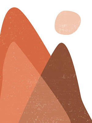 Royalty-Free and Rights-Managed Images - Mountain Ranges - Minimal Abstract - Terracotta Art - Contemporary, Modern Print - Brown by Studio Grafiikka