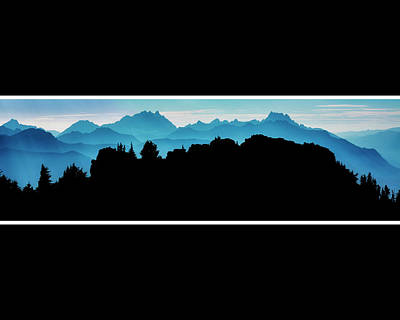 Mountain Royalty-Free and Rights-Managed Images - Mountain Ridge Silhouette Black Background by Pelo Blanco Photo