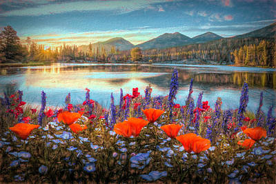Photograph - Mountain Summer Blooms Oil Painting by Debra and Dave Vanderlaan