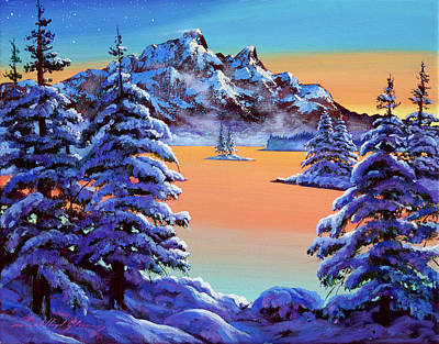 Painting - Mountain Sunset Ice by David Lloyd Glover