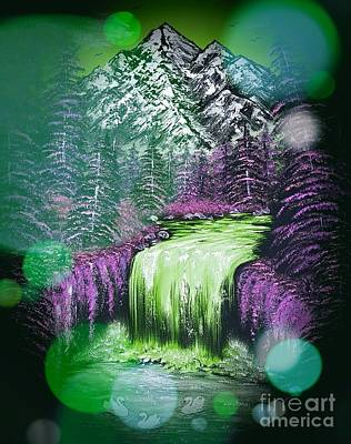 Birds Rights Managed Images - Mountain views so beautiful green stardust dark  Royalty-Free Image by Angela Whitehouse