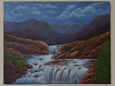 Painting - Mountain Waterfalls by Gloria Johnson