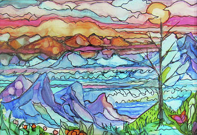 Painting - Mountains And Sea by Jean Batzell Fitzgerald