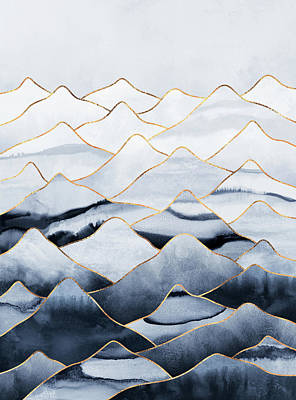Winter Landscape Wall Art - Mixed Media - Mountains by Elisabeth Fredriksson