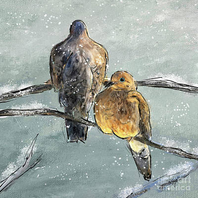 Digital Art - Mourning Doves In A Morning Flurry by Lois Bryan