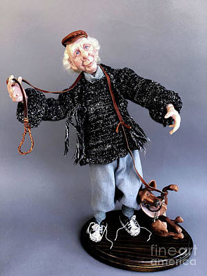 Sculpture - Mr. Wiggles And The Dog Walker by Cindy DeGraw
