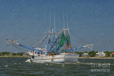 Painting - Mrs Judy Too Shrimp Boat Cruising By Sullivan's Island Sc by Dale Powell