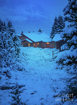Photograph - Mt Assiniboine Lodge At  Night by Inge Johnsson