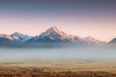 Mt Cook Emerging From Mist At Dawn, New Art Print by Matteo Colombo