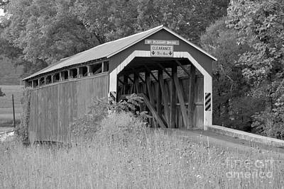 Photograph - Mt. Pleasant Covere Bridge Through The Grass Black And White by Adam Jewell