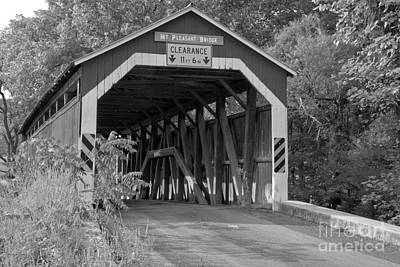 Photograph - Mt. Pleasant Covered Bridge In Perry County Black And White by Adam Jewell