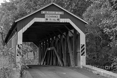 Photograph - Mt. Pleasant Covered Bridge Landscape Black And White by Adam Jewell
