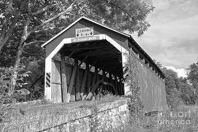 Photograph - Mt. Pleasant Covered Bridge Lush Green Landscape Black And White by Adam Jewell