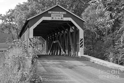 Photograph - Mt. Pleasant Covered Bridge Under The Trees Black And White by Adam Jewell