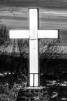 Photograph - Mt Sequoyah Cross Wall Art Print - Fayetteville Arkansas - Black And White by Gregory Ballos