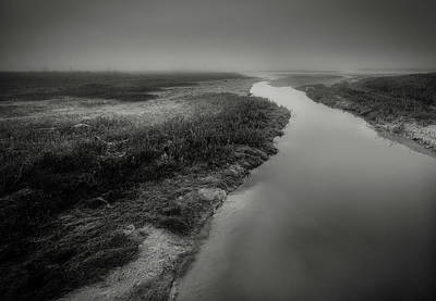 Photograph - Mud Flats Bw by David Heilman