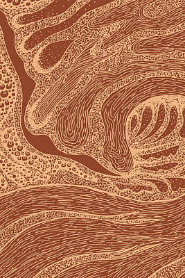 Royalty-Free and Rights-Managed Images - Mud Wave 2 - Abstract Lines - Terracotta Abstract - Modern, Contemporary Print - Brown, Burnt Orange by Studio Grafiikka