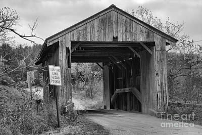 Photograph - Mudgett Covered Bridge Black And White by Adam Jewell