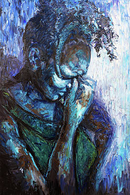 Painting - Muffled Sorrow by Shuanteya Sherman