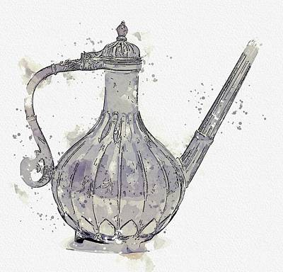 Giuseppe Cristiano - MUGHAL EWER watercolor by Ahmet Asar by Ahmet Asar
