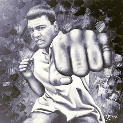 Sports Royalty-Free and Rights-Managed Images - Muhammad Ali boxing by Enxu Zhou