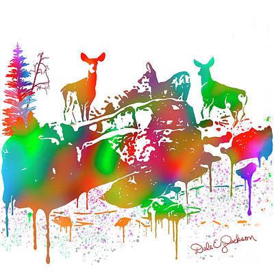 Painting - Mule Deer Skyline Drip Art by Dale E Jackson