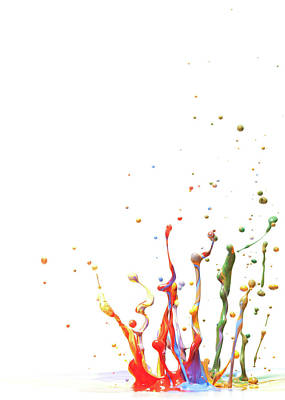 Multicolor Paint Splash Against A White Art Print by Banksphotos