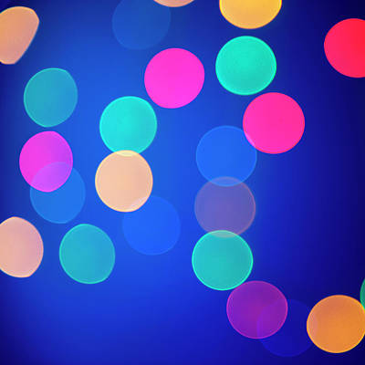 Blue Background Photograph - Multicolored Defocused Lights On A Blue by Gm Stock Films