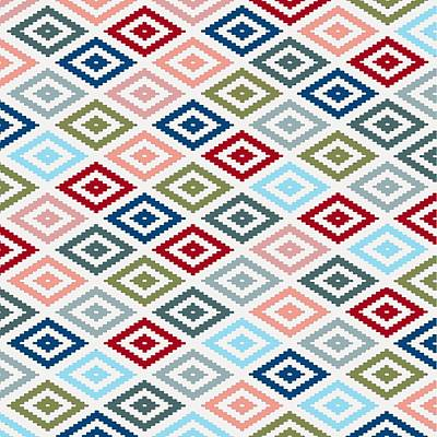 Painting - Multicolored Diamond Shapes Granny Pattern V1 by Taiche Acrylic Art