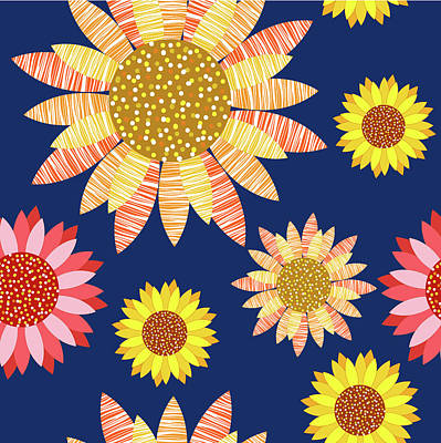 Painting - Multicolored Sunflowers Design by All Free Download