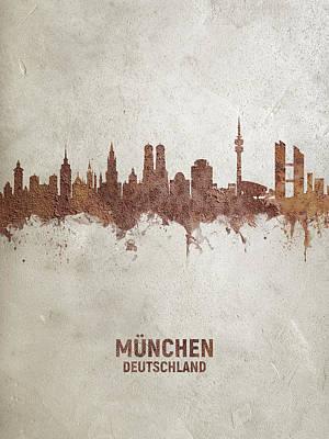 Digital Art - Munich Germany Rust Skyline by Michael Tompsett