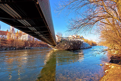On Trend At The Pool - Mur river and Murinsel island in Graz under the bridge view by Brch Photography