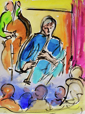 Clarinet Wall Art - Painting - Music By Richard H. Fox, Watercolor And by Richard H. Fox