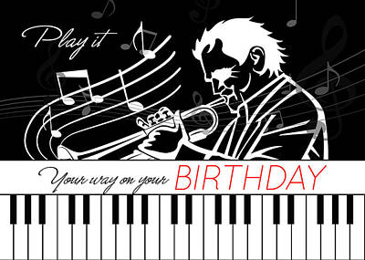 Musicians Royalty Free Images - Music Themed Birthday Piano Keys and Musician with Musical Notes Royalty-Free Image by Doreen Erhardt