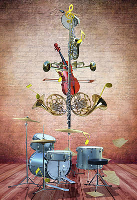 Digital Art Rights Managed Images - Musical Christmas tree Royalty-Free Image by Mihaela Pater