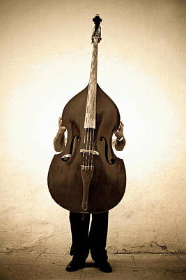 Holding Photograph - Musician With Double Bass by Holly Wilmeth