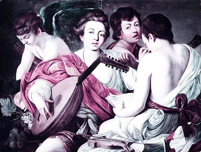 Musicians Royalty Free Images - Musicians by Caravaggio 2 -  infrared version Royalty-Free Image by Celestial Images