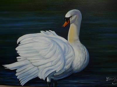 Mute Swan Art Print by Janet Silkoff