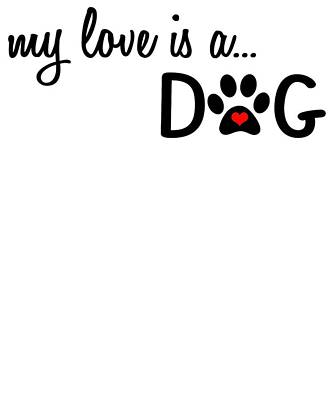 Digital Art - My Love Is A Dog Paw Print Designs by Dawn Romine