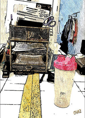 Still Life Drawings - My Messy Desk by CHAZ Daugherty