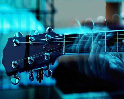 Music Royalty-Free and Rights-Managed Images - My weeping Guitar - Performance In Blue Dim Light No. 2 Catus 2 No. 1 L B  by Gert J Rheeders