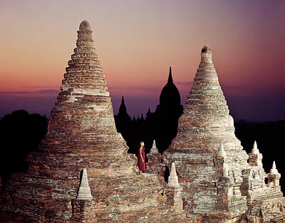 Photograph - Myanmar, Bagan,buddhist Monk On Temple by Martin Puddy