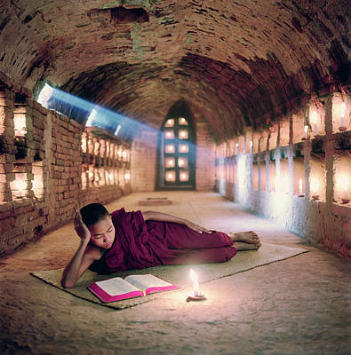 Open Photograph - Myanmar, Buddhist Monk Inside by Martin Puddy