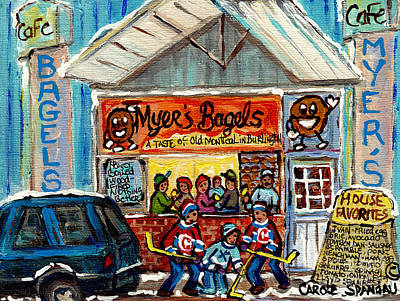 Painting - Myer's Bagel Cafe Burlington Vermont Bakery Painting Hockey Art Winter Scene C Spandau Resto Artist by Carole Spandau