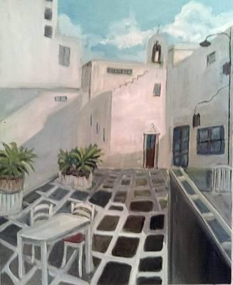 Painting - Mykonos Island Hotel Courtyard by Katherine Cobb