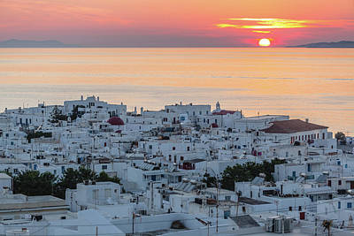 Mykonos Photograph - Mykonos Sunset, Greece by Deimagine