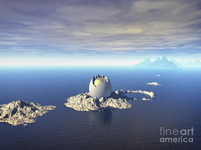 Digital Art - Mystery Of Giant Egg At Sea by Phil Perkins