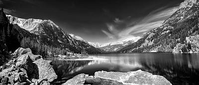 Wild Horse Paintings - Mystic Lake Pano 2 bw by Roger Snyder